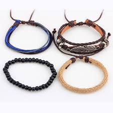 leather leaf bracelet images 1set 4pcs leather leaf handmade bracelet boho bracelets for male jpg