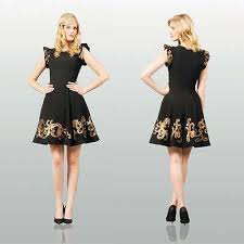 black and gold dress black gold embroidery cocktail dress with cascad sleeve