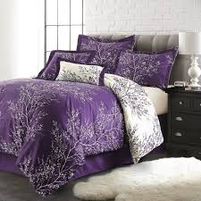 Purple Paisley Comforter Purple Bed Sets 6 Piece Foliage Collection Plush Reversible