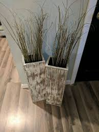 Distressed Wood Home Decor Set Of 24 And 28 Tall Rustic Floor Vases Wooden