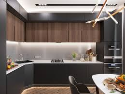 minimalist kitchen designs decorated with a wooden accent and gray