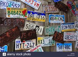 Maine State Vanity Plates Old License Plates On Wall In Bar Harbor Maine Stock Photo