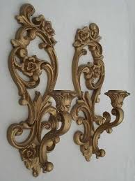 Candle Holder Wall Sconces Ornate Gold Wall Sconces Vintage Homco Candle Holders Wall Plaques