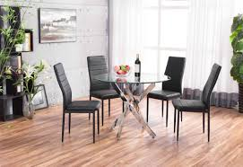 Circular Glass Dining Table And 4 Chairs Novara Chrome Round Glass Round Dining Table And 4 Leather Dining