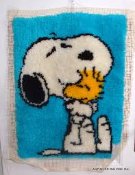 Vervaco Latch Hook Rug Kits Snoopy Latch Hook Rug Peanuts Unfinished Kit By Antiquesgaloregal