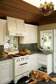 mirrored backsplash in kitchen mirror tile backsplash ideas kitchen eclectic with pet food