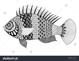 fish art design coloring book stock vector 375090706