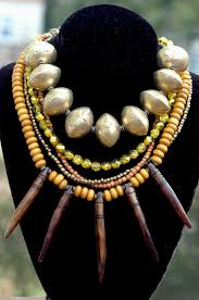 african gold necklace images Tribal brown amber gold and african brass fringe statement necklace jpg