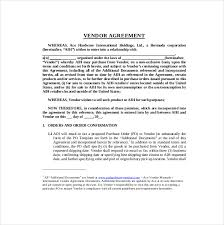 10 vendor agreement templates u2013 free sample example format