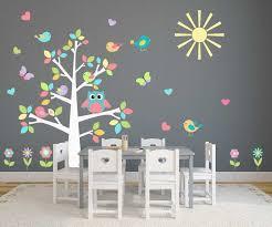 stickers chambre bébé garcon pas cher sticker mural chambre bébé couleur complet motif chouette arbre