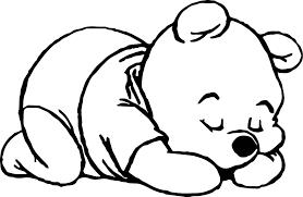 sleep baby pooh coloring wecoloringpage