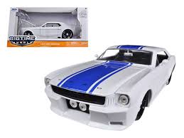 white mustang blue stripes diecast model cars wholesale toys dropshipper drop shipping 1965