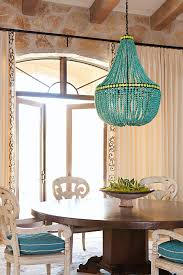 Beaded Turquoise Chandelier Get The Look Overscale Lighting Traditional Home