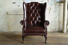 Chesterfield Wing Armchair Leather Wing Chair Ebay