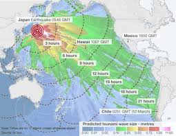 Fukushima Fallout Map by Japan Earthquake Wave Forecast Map Bbc News
