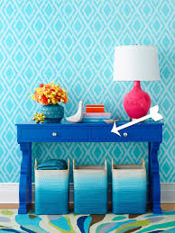 how to paint a blue console table hgtv
