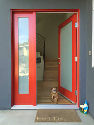 fancy design home exterior door ideas featuring red color front