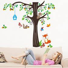 Monkey Wall Decals For Nursery by Tree Wall Sticker For Nursery Squirrel Fox Mushroom Wall Decal