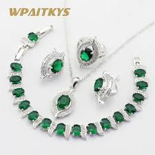 green stones necklace images Buy silver color jewelry sets for women green jpg