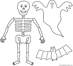 Halloween Drawing Activities Skeleton With Bat And Ghost Coloring Page Halloween