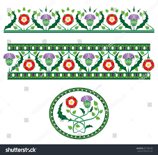 scottish thistle vector borders stock vector