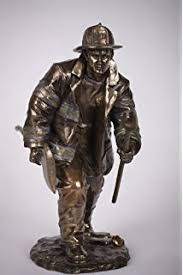 firefighter figurines fighter statue bronze plated fireman figurine