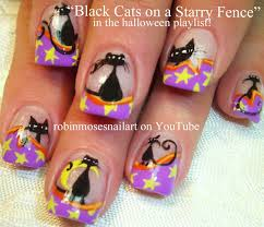 nail art tutorial diy halloween nails black cats and stars