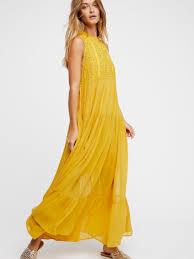 free people washington midi dress in yellow lyst