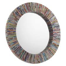 Circle Wall Mirrors Cohen Multi Coloured Recycled Magazine Round Wall Mirror Buy Now