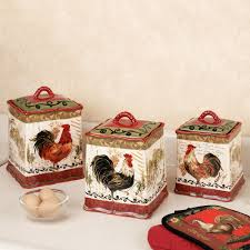 Red Kitchen Canisters Sets Rooster Kitchen Collection Touch Of Class