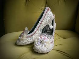 Wedding Shoes Off White Marie Antoinette Shoes Heels Pink Dusty Rose Costume Floral Ivory