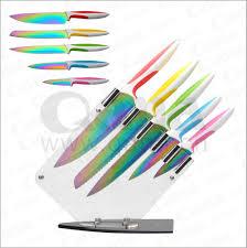 28 rainbow kitchen knives 5pcs titanium rainbow kitchen knife