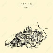 Himalayan Mountains Map Ram Kot Village In Nepal Traditional Nepalese Houses In The