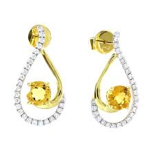 diamond earrings online buy yellow gold 0 93 ct citrine 0 35 ct diamond earrings online