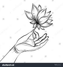 buddha hand tattoo lord buddhas hand holding lotus flower stock vector 386533075