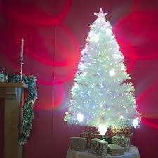 3ft white artificial fibre optic christmas xmas tree with multi
