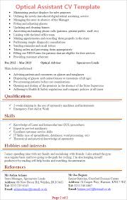 Interest And Hobbies For Resume Samples by Optical Assistant Cv Template Tips And Download U2013 Cv Plaza