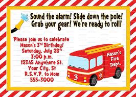firetruck birthday invitation fireman birthday party fire
