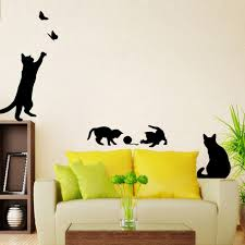 Reusable Wallpaper by Amazon Com Hatop Cats Butterfly Wall Stickers Art Decals Mural