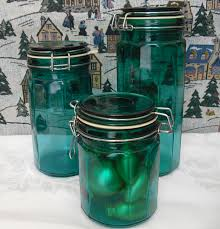 Green Kitchen Canister Set Vintage Italglass Green Glass 3 Piece Canister Set With Metal