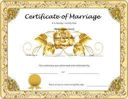 marriage certificate template format u0026 template