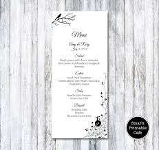 halloween wedding menu template diy printable gothic skull