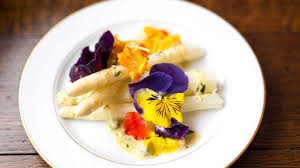edible flower garnish white asparagus with gribiche sauce and edible flowers asian