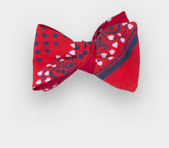 bandana bow bow tie flower bandana cotton and silk cinabre