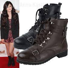 womens combat boots size 9 annakastle womens leather buckle straps lace up ankle combat boots