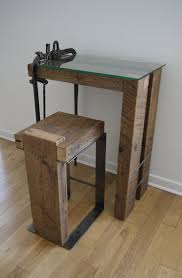 Small Work Desk Table Reclaimed Wood And Glass Computer Desk Barn Wood Small Work Desk