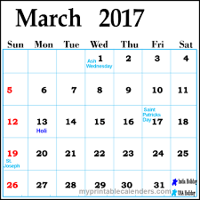 march 2017 calendar holidays free printable calendars