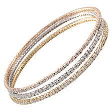 bangle bracelet diamond images Set of rose yellow and white gold diamond bangles for sale at 1stdibs jpg