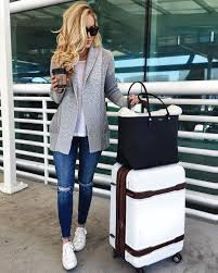 travel outfits images Comfy travel style grey cardigan with white tee and distressed jpg