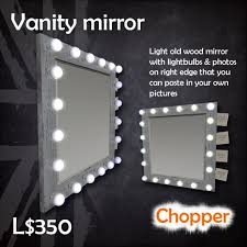 second life marketplace vanity mirror with light bulbs